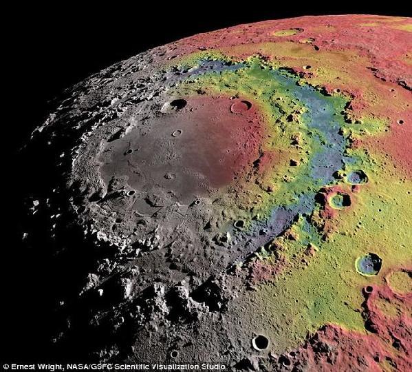 重力异常图与东方海地区地形图叠加效果图。红色表示重力场正异常,蓝色表示负异常