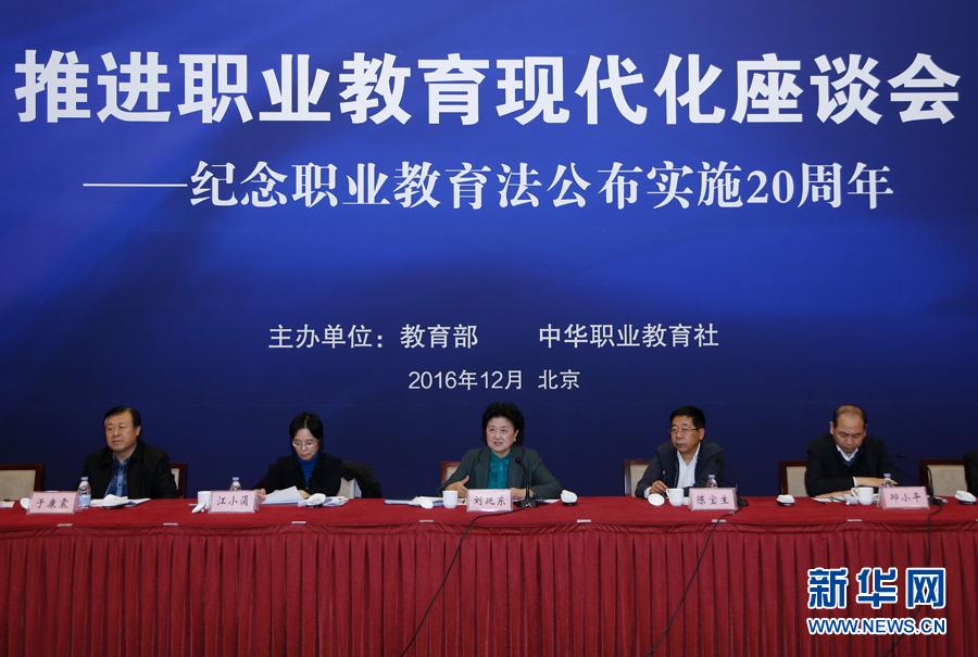 12月2日,推进职业教育现代化座谈会在北京召开。中共中央政治局委员、国务院副总理刘延东出席会议并讲话。 新华社记者 燕雁摄