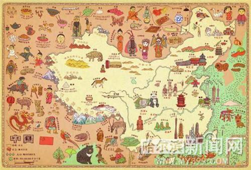 在这张手绘中国地图上,还有乐山大佛,熊猫,故宫,长城,京剧,少林武术等