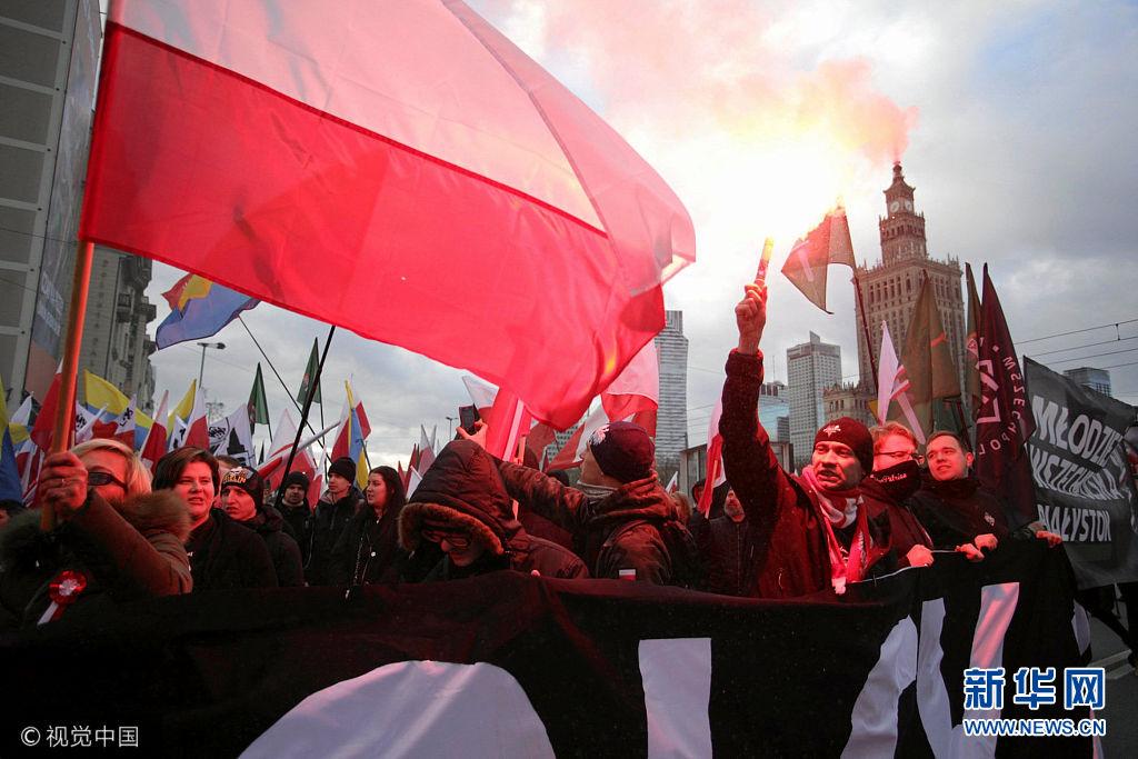 波兰华沙举行大游行庆祝独立日