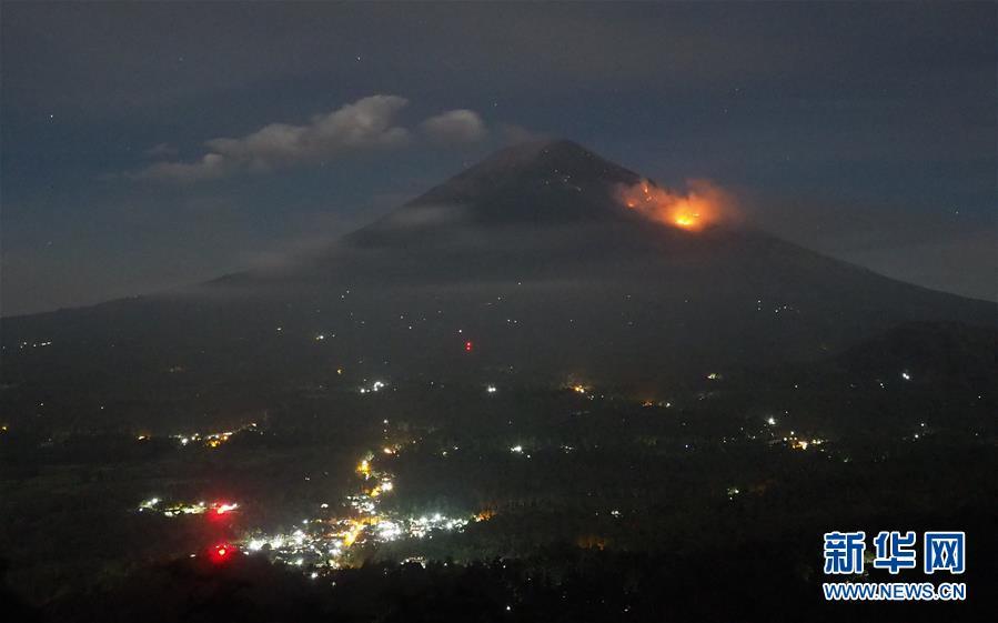 印尼巴厘岛阿贡火山剧烈喷发