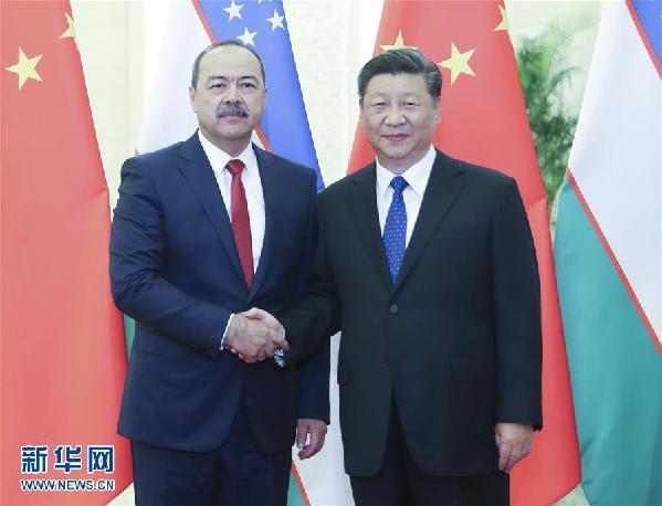 (XHDW)习近平会见乌兹别克斯坦总理阿里波夫