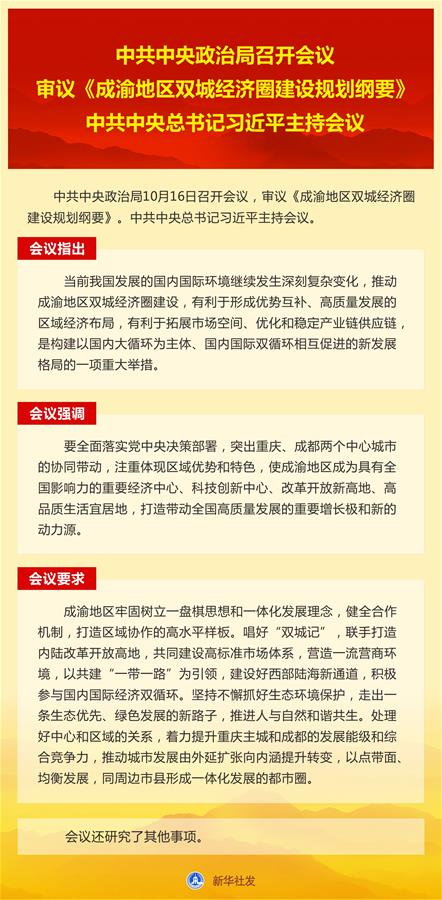 (图表)[时政]中共中央政治局召开会议   审议《成渝地区双城经济圈建设规划纲要》   中共中央总书记习近平主持会议